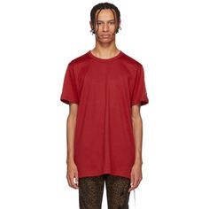 Short sleeve cotton jersey t-shirt in red. Black logo flag and extended thread detailing featuring logo printed in black at vented side-seam. Logo embroidered in white at back and sleeves. Mastermind Japan, T Shirt Vest, Check Shirt, Printed Cotton, Rib Knit, Tunic Tops, Logo, Red, Shirts