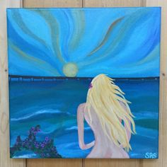 Items similar to Beach Themed Painting with Pier - Girl Art - Mermaid Beach House Wall Decor - Surfer Beach Sunset Wall Art - Beach themed Christmas gift on Etsy Mermaid Beach, Mermaid Art, My Etsy Shop, Sun, The Originals, Painting, Vintage, Decor, Decoration