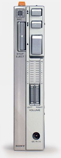 The first Sony Walkman, the TPS-L2 in 1979. Side view. The most important personal music device since the transistor radio, the Walkman was also the device that made it common to wear headphones in public. From 'The Sony Walkman' at the web's largest private collection of antiques & collectibles: http://www.ericwrobbel.com/collections/sony-walkman.htm