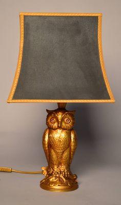 Cast Brass Owl Lamp, circa 1940 Pinned by www.myowlbarn.com