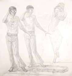My Self, 2008 pencil on paper 150x160cm by Mac Hoang Thuong
