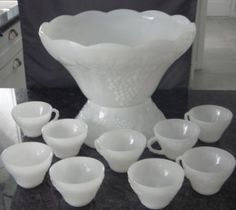 Vintage White Milk Glass Punch Bowl & 9 cups