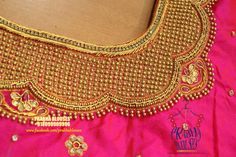 Beautiful pink color designer blouse with hand embroidery kundan and bal work. Wedding Saree Blouse Designs, Blouse Designs Silk, Blouse Patterns, Embroidery Neck Designs, Hand Embroidery, Embroidery Patterns, Mirror Work Blouse, Aari Work Blouse, Maggam Work Designs