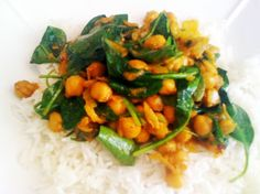 Quick & Easy Chana Masala  Ingredients        2 tablespoons vegetable oil      1 medium onion, chopped      1 large clove of garlic, minced      1 tablespoon curry powder      1 tablespoon tomato paste or ketchup      15 oz can chick peas, drained, reserving 3 tablespoon liquid      ½ tablespoon lemon juice      ½ teaspoon salt      fresh black pepper      crushed red pepper, optional to taste      1 tablespoon vegan margarine      cilantro (fresh coriander) or spinach (optional)