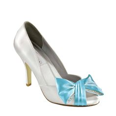4027eb57ae4 Details about Dyeable White Satin Colored Bow Prom Formal Bridal High Heel  Pump Shoe