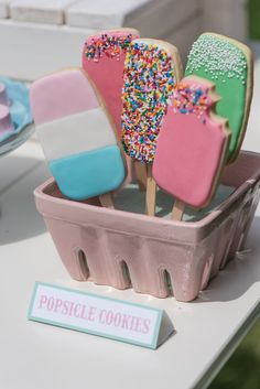 We're not sure an ice cream party needs cookies, too, but we love the look of these, and the clever display. Would work for cake pops, too.