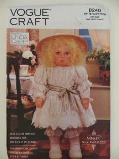Linda Carr Doll Pattern, Vogue Craft 8240, 18 inch Doll, Victorian Doll Clothes, Face Transfer, Soft Rag Doll, Dress Bloomers Tights Shoes by CatBazaar on Etsy