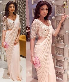 Shilpa Shetty looking exquisite in pale pink mukaish saree with a mirror blouse at the royal dinner. Image may contain: 2 people
