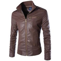 Epaulet Design Rib Hem Zippered Faux Leather Jacket