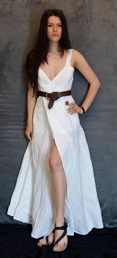 White Linen Dress Wrap Dress Handmade Dress Natural Fabric White Linen Dresses, Vegan Clothing, Handmade Dresses, Sustainable Clothing, Boho Bride, Piece Of Clothing, Boho Dress, Wrap Dress, Formal Dresses