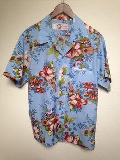 47a1994e5 1970s vintage Hawaiian L shirt, Shoreline Hawaii, tropical floral print,  ukulele print, blue aloha shirt, tiki luau, 70s hawaiian shirt