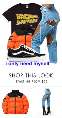"""""""-I ONLY NEED MYSELF-"""" by bxtchslayy ❤ liked on Polyvore featuring The North Face and Vans"""