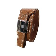 Hermes cuff bracelet in light brown leather - $565.