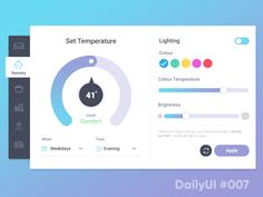 Day 7 of the Daily UI Challenge. Today I designed a 'Smart Home Hub' settings panel, allowing users to adjust heating and lighting in various rooms of their house. #007 — Settings @2X for full vi...