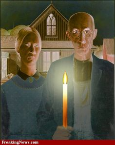 Lights Off in American Gothic Painting American Gothic Painting, American Gothic House, Grant Wood American Gothic, American Gothic Parody, American Art, Deviant Art, Gothic 1, Pop Art, Mona Lisa