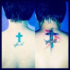 "33 Likes, 3 Comments - JeremiasTattoo (@jeremias.tattoo) on Instagram: ""\|Fé|/ #oleoismotattoo #makeovertattoo #faithtattoo #backtattoo #crosstattoo #watercolortattoo…"""