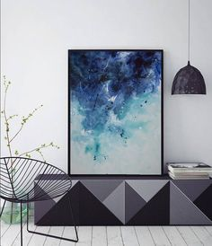 abstract seascape painting watercolor acrylic painting 40x30 blue turquoise 'miss tide'