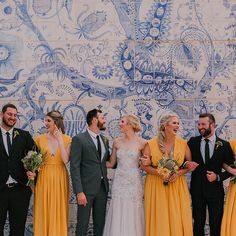 Bosjes wedding venue is just incredible! Just look at this stunning mural in the background of this bridalparty shot Yellow Bridesmaid Dresses, Wedding Dresses, Flawless Beauty, Beautiful Moments, Wedding Styles, Wedding Venues, Insta Posts, Wedding Things, Color