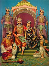 Raja Ravi Varma's Draupadi and Five Pandava Painting (circa 1910)