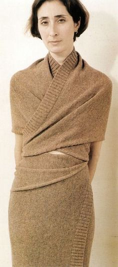 Martin Margiela, autumn/winter 1999–2000. Wrapped shetland woollen dress made from two pieces of knitted fabric, one shaped.