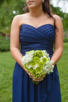 Navy Blue Bridesmaid Dress - Sweetheart Neckline - Green White Flowers - Bridesmaids Bouquets - Knoxville TN Wedding Flowers - Florist Knoxville TN - www.lisafosterdesign.com