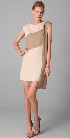 Nude color block dress