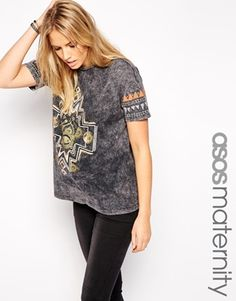 ASOS Maternity Acid Wash T-Shirt With Solstice Print