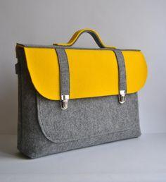 Felt briefcase 15 MacBook Pro laptop urban bag by kmBaggies, $50.00