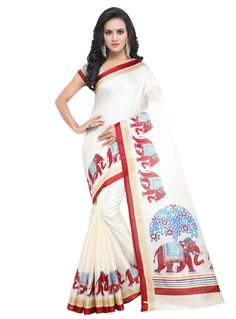 1a47ac646351d Buy Off White Khadi Festival Wear Saree 147601 with blouse online at lowest  price from vast