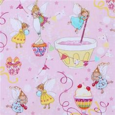Michael Miller designer fabric Sugar Fairies cute fairy  cute pink fabric with fairies and lots of candy from the USA