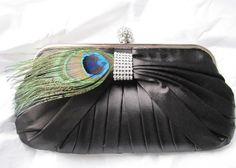 Black Satin Fabric Wedding Bag Clutch Formal Wear  with Feather and Rhinestone accent