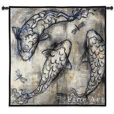 53x53 KOI CIRCLE Fish Dragonfly Asian Tapestry Wall Hanging