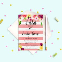 Striped Bridal Shower Invitation Modern Bridal by AlniPrints  #Bachelorette #Bridal #Shower #Invitation #brunch #idea #invite #Lingerie #party #dinner