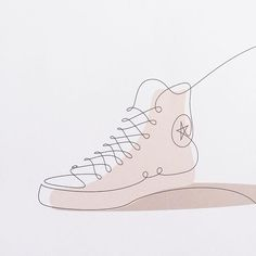 Every week we'll be posting one of our one line sneakers drawings or making of videos + answering your questions about our creative process. Here is a first one ! The timeless Converse's Chuck Taylor All-Star which remained largely unchanged since 1917. Technically, we were very amused to learn that the shoe is not classified as a sneaker but as a slipper (because there is fabric on the bottom of the sole). Ha !  #oneline #illustration #sneakers #design #converse #allstar #continuousline