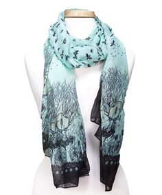 Love this Aqua & Black Nature Birds Scarf on #zulily! #zulilyfinds