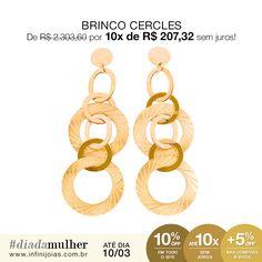 Brinco Cercles Ouro 18k - De: R$ 2.303,60 Por: R$ 2.073,24 ou 10x de R$ 207,32 sem juros #diadamulher #diadasmulheres