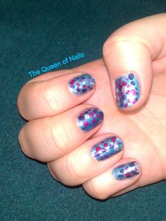 The Queen of Nails ~ Polka dot nails - blue base, purple, pink, dark blue and silver dots, finished with a shining top coat.