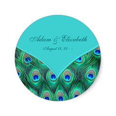 Teal Blue Peacock Wedding Favor Label Sticker