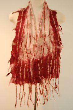 Women's Silk Scarf Nuno Felted Scarf Wool by LocallySewnTextiles