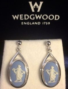 Fine WEDGEWOOD Lady In. Flowing Gown Sterling silver drop Earrings BOXED