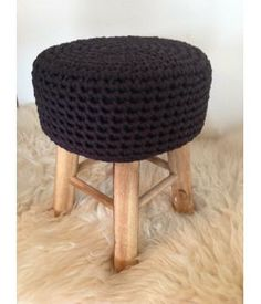 Stool of crochet Zpagetti 44 cm anthracite. #Tet