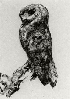 """Barn Owl Viewed from the Side""   Paris- April-September,  1887 (Amsterdam, Van Gogh Museum)"