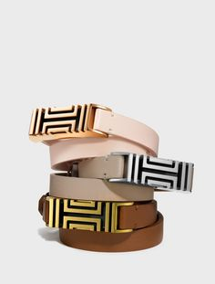 Tory Burch for Fitbit. The new fret double-wrap bracelet in leather.