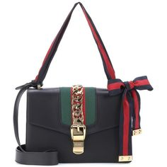 Gucci Sylvie Leather Shoulder Bag (585.020 HUF) ❤ liked on Polyvore featuring bags, handbags, shoulder bags, black, shoulder bag purse, real leather shoulder bags, gucci shoulder bag, gucci and genuine leather shoulder bag