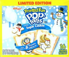 Kellogg's Printed Fun Pop Tarts, Frosted Sugar Cookie - Limited Edition 16 Count Toaster Pastries, 28.2 oz Box by Kellogg's, http://www.amazon.com/dp/B0061PUDAU/ref=cm_sw_r_pi_dp_hlaDsb17MDK3V