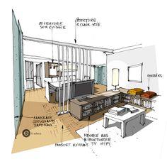 SALON-croquis architecture Intérieure- Dominique JEAN pour EDECO Rénovation