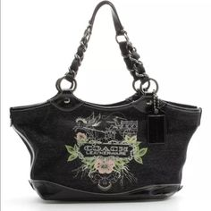 """Rare Black Coach Tattoo Rare black Coach tattoo. Patent leather trim, black canvas. Satin lining. Oversized hang tag. Gun metal hardware. 2009 limited edition. Light scratches to hardware, excellent pre-loved condition. 17"""" L X 5"""" W X 9 3/4"""" H. Strap drop 9"""" Coach Bags Shoulder Bags"""