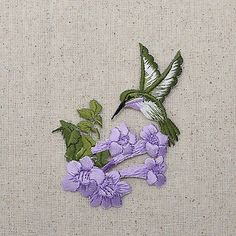 Embroidered Patch - Iron on Applique Purple Hummingbird with Flower Facing Left