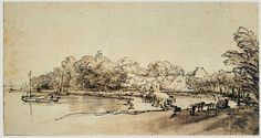 Rembrandt van Rijn: Drawings A BEND IN THE AMSTEL AT KOSTVERLOREN 136 x 247 mm. The Duke of Devonshire and the Trustees of the  Chatsworth Settlement, Chatsworth