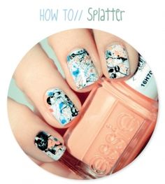 How to splatter paint your nails and other nail design tutorials! In French.